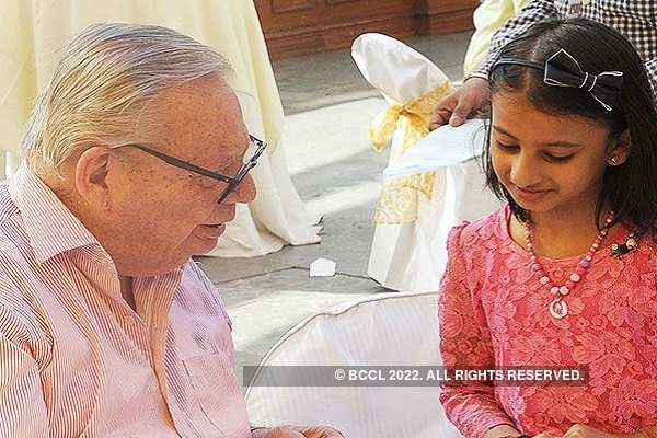 Ruskin Bond with a young fan