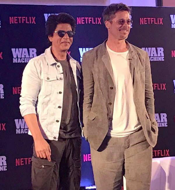 Brad Pitt and Shah Rukh Khan meet at 'War Machine' screening