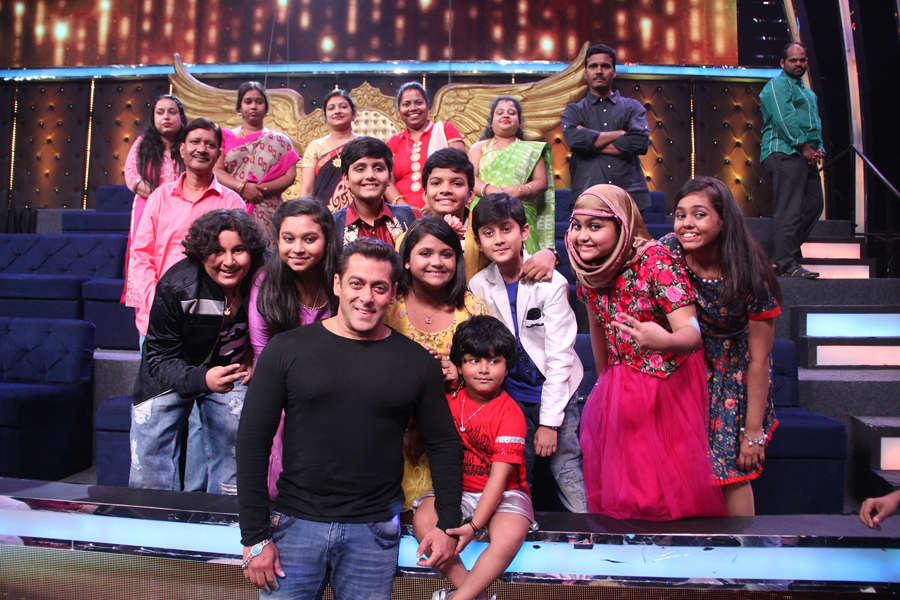 Salman Khan on Sa Re Ga Ma Pa set