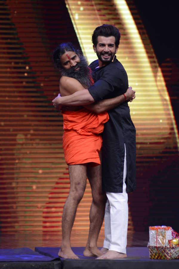 Baba Ramdev and Jay Bhanushali hugs eachother