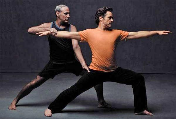 Iron Man star Robert Downey Jr. practices yoga