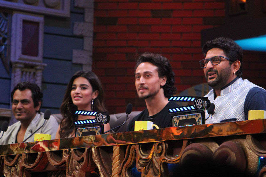 Tiger Shroff and Nidhhi Agerwal on the sets