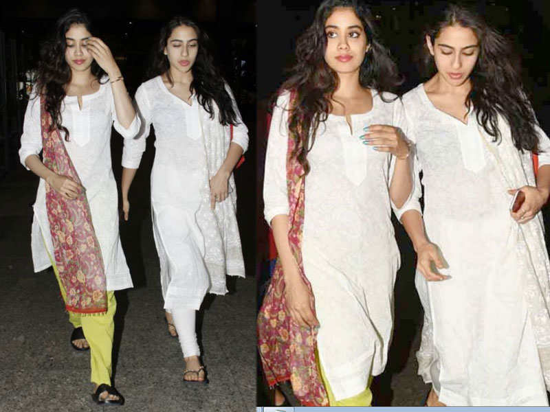 Image result for latest images of sara ali khan with jhanvi kapoor