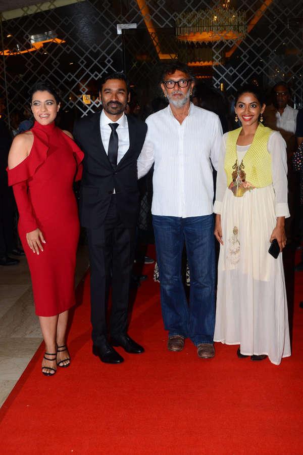 Kajol, Dhanush and Rakeysh Omprakash Mehra pose for the camera