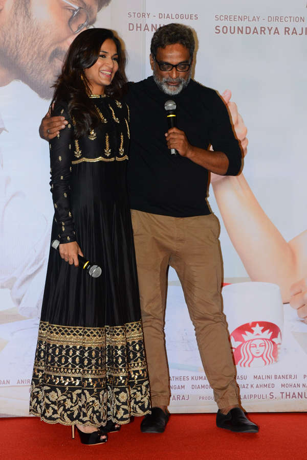 Soundarya Rajinikanth and R Balki at Vip 2 trailer launch