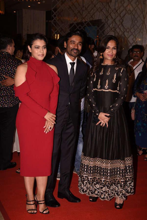 Kajol, Dhanush and filmmaker Soundarya Rajinikanth at Vip 2 trailer launch