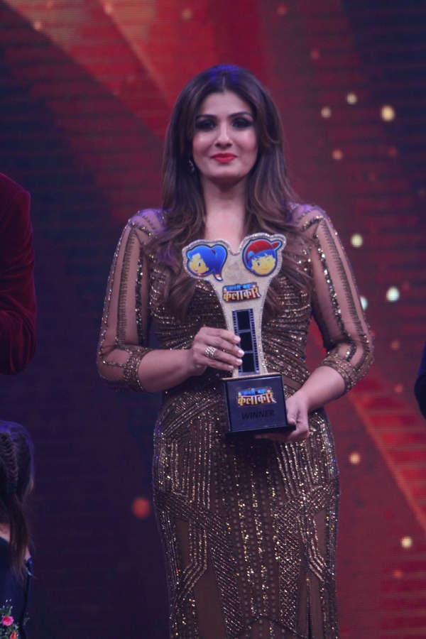 Raveena Tandon with trophy