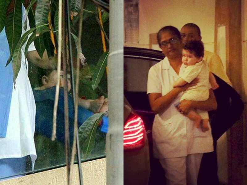 Pic: Kareena Kapoor Khan's son Taimur enjoys watching the monsoon showers on a swing on his balcony