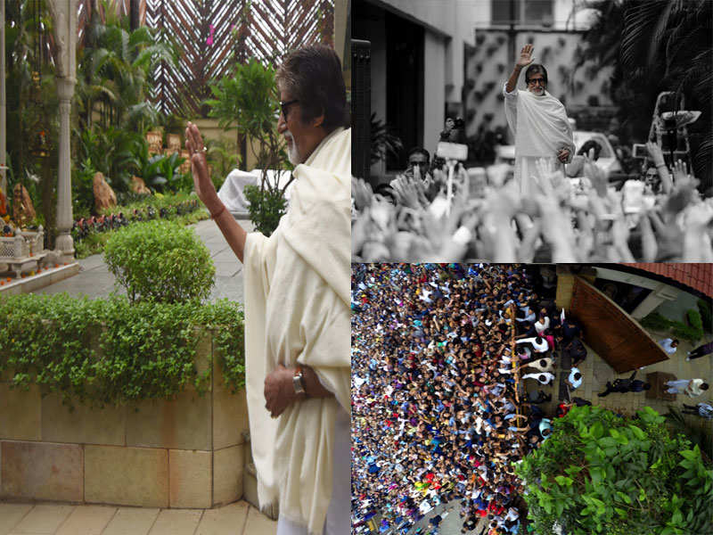 Amitabh Bachchan Greets A Sea Of Fans After A Month On