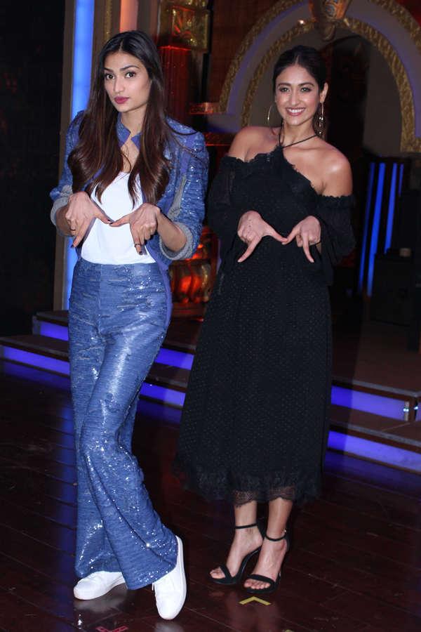 Athiya Shetty and Ileana D'Cruz promoting film