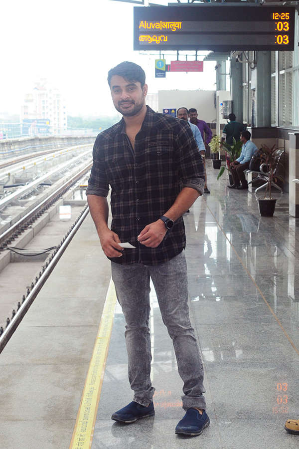 Tovino Thomas takes a joyride in Kochi Metro