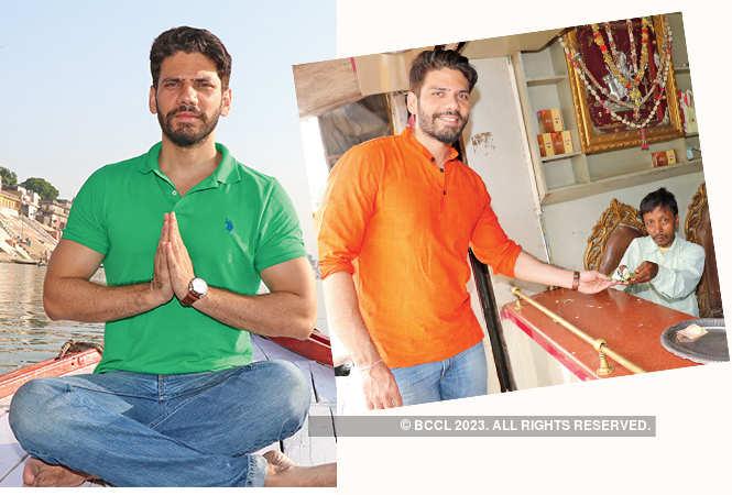 Vipul enjoys an early morning boat ride and (R) Vipul Gupta enjoying Banarasi paan  (BCCL/ Unmesh Pandey)