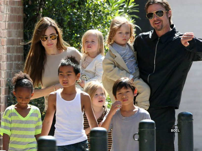 Angelina Jolie and Brad Pitt with their children