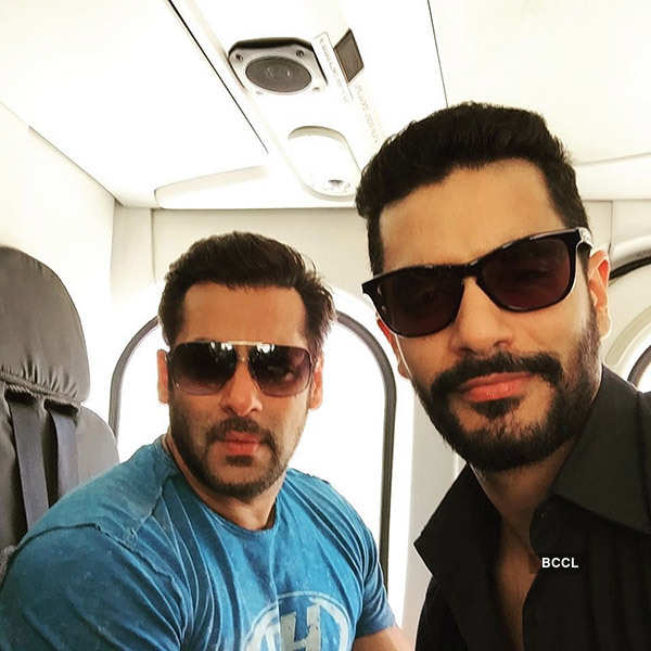 Angad Bedi taking fitness tips from Salman Khan