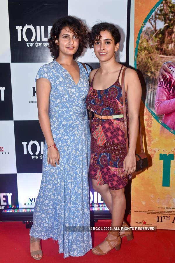 Fatima Sana Shaikh and Sanya Malhotra at Toilet screening