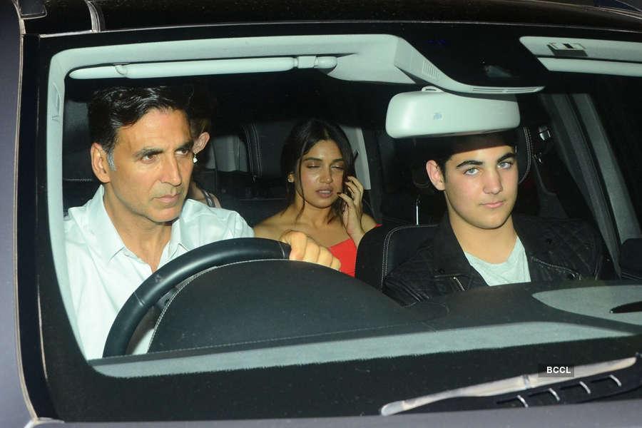 Akshay Kumar arrive with son Aarav Kumar and Bhumi Pednekar