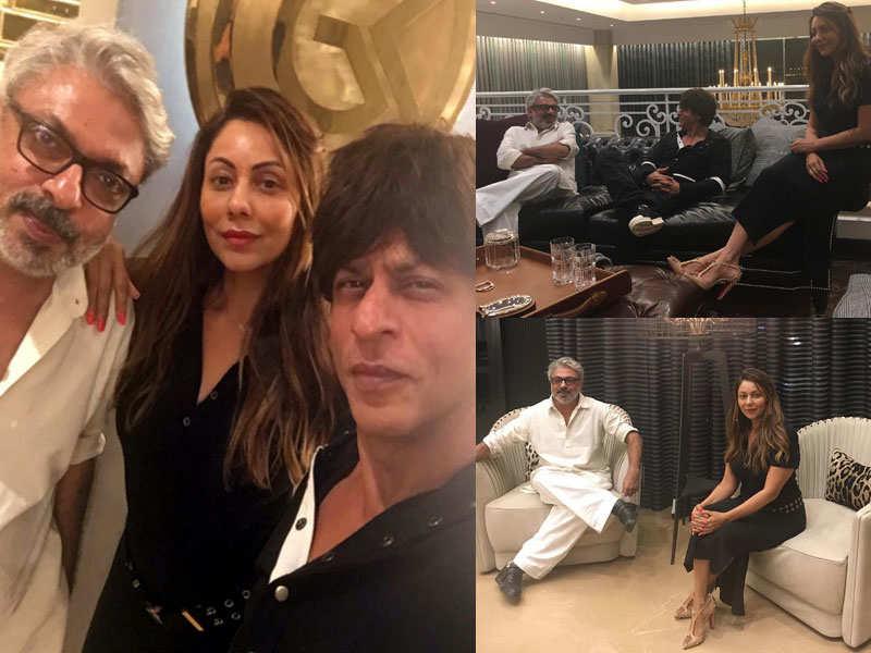 Pic: Sanjay Leela Bhansali pays Shah Rukh Khan and Gauri Khan a visit