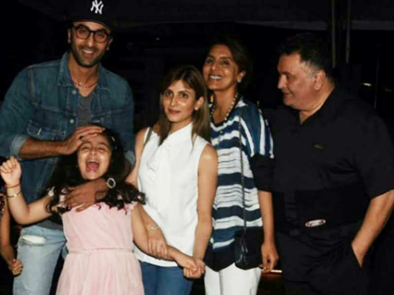 Pic: Ranbir Kapoor goofs around with niece Samara on a dinner outing with family