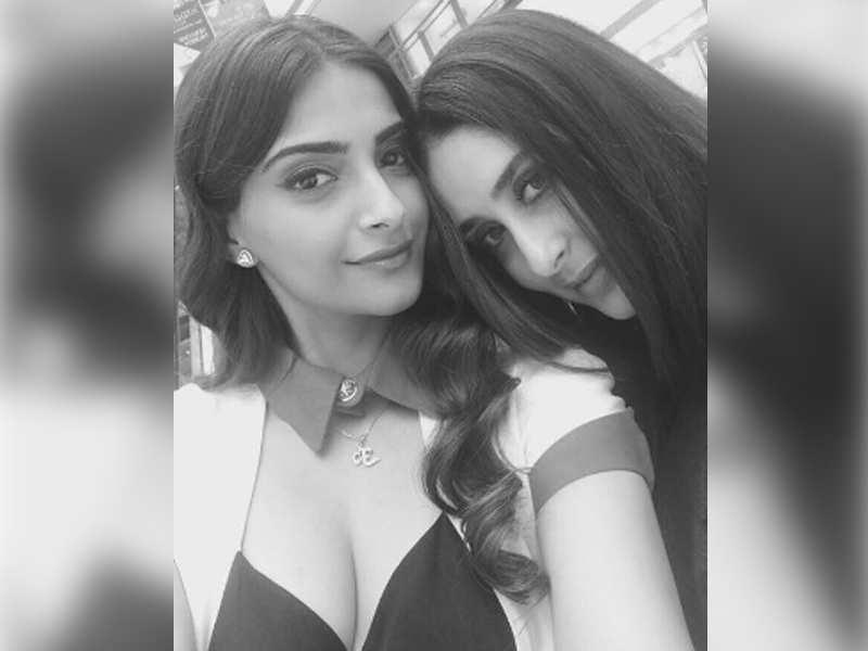 Pic: Sonam Kapoor shares a monochrome selfie with Kareena Kapoor Khan on 'Veere Di Wedding' sets