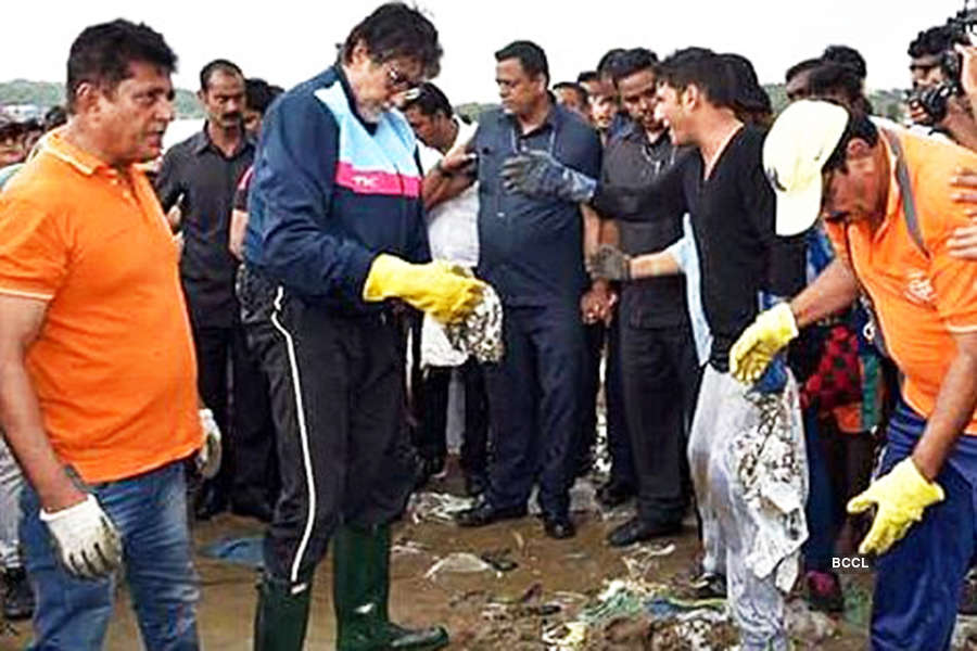 Volunteers clean up Versova beach after Ganesh Visarjan