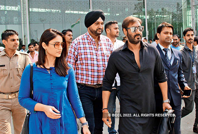 Ajay Devgn and Ileand D'Cruz at Lucknow aiport on Sunday afternoon (BCCL/ Aditya Yadav)