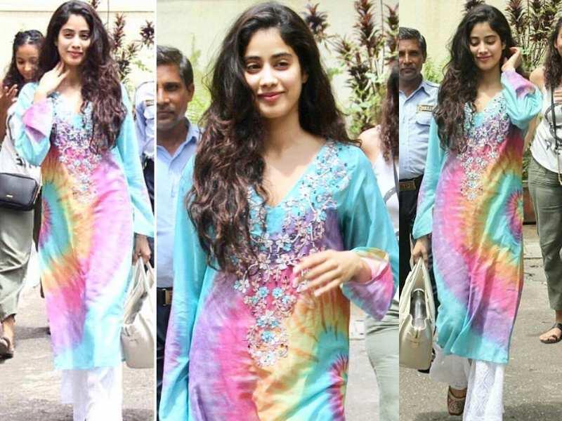 Pics: Janhvi Kapoor looks winsome in a multi-hued attire