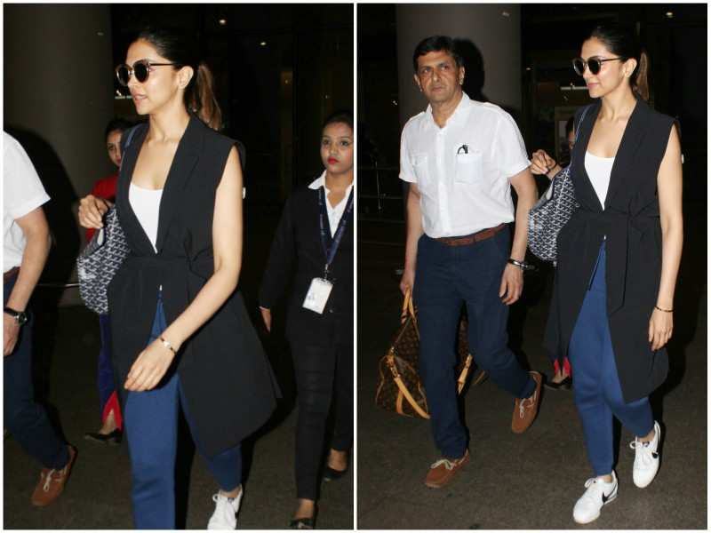 Deepika Padukone makes a swag entry with father at the airport