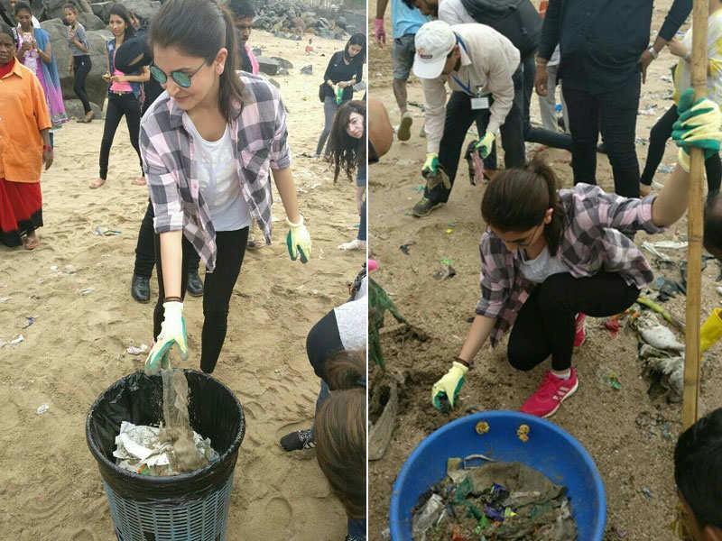 Anushka Sharma cleans Mumbai beach as part of Swachh Bharat campaign