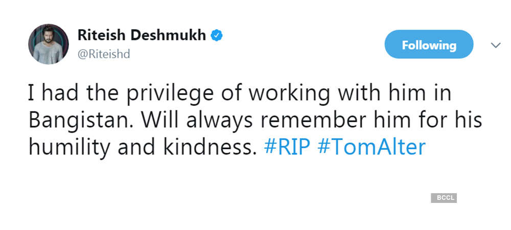 B-Town mourns Tom Alter's death, offer condolences to family