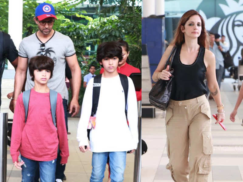 Pic Hrithik Roshan Returns Back To Mumbai With His Sons And Ex Wife