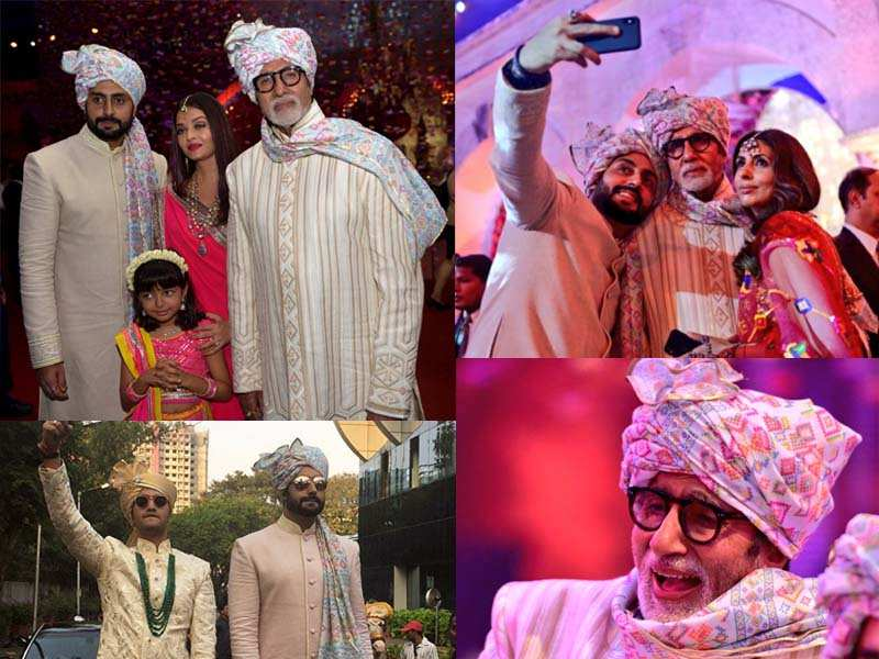 Pics Amitabh Bachchan Attends A Wedding With Aishwarya Abhishek Aaradhya And Shweta In