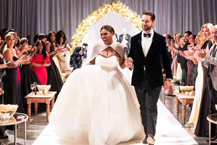 Serena and Ohanian at their wedding ceremony
