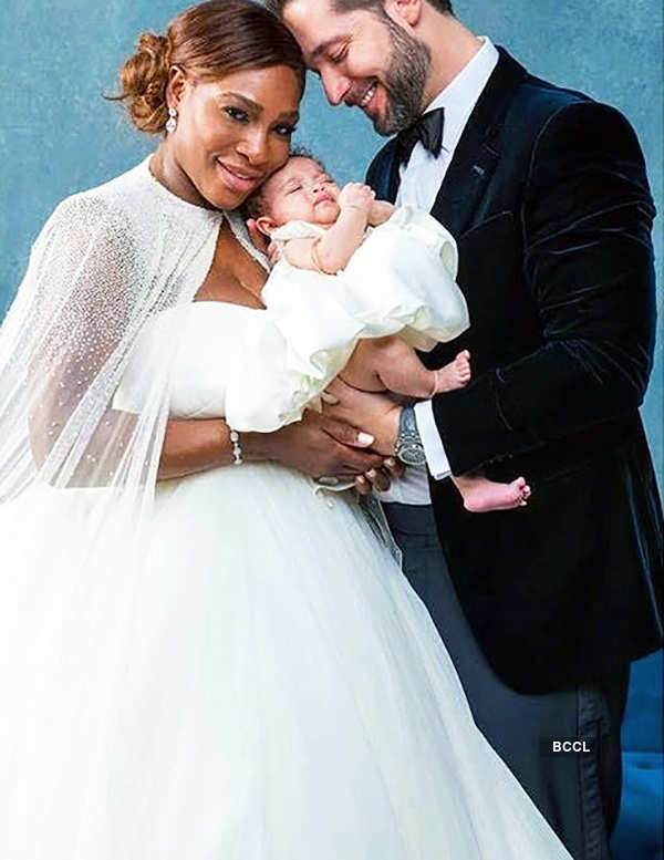 Serena Williams with Alexis Ohanian and Alexis Olympia Ohanian Jr.