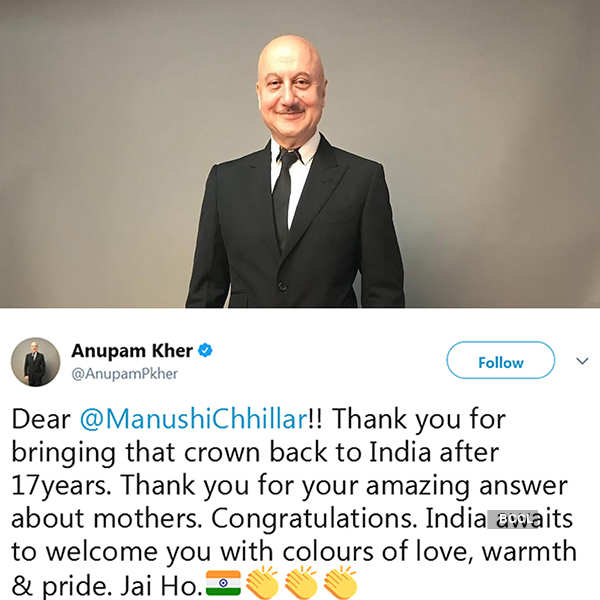 Celebrities congratulate Miss World 2017 Manushi Chhillar