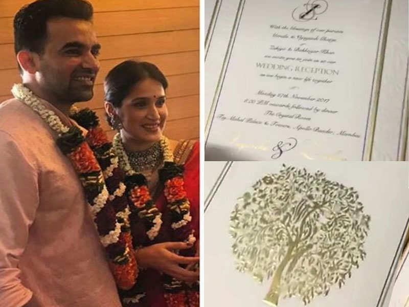 Revealed: Zaheer Khan and Sagarika Ghatge's invitation card for grand wedding reception - Zaheer Khan – Sagarika Ghatge's love story  | The Times of India