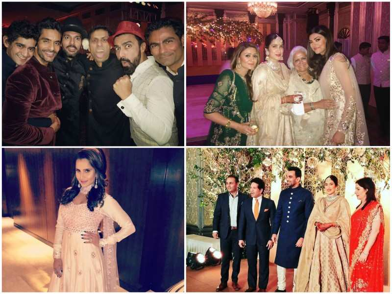 Sachin Tendulkar, Yuvraj Singh, Sushmita Sen and Sania Mirza