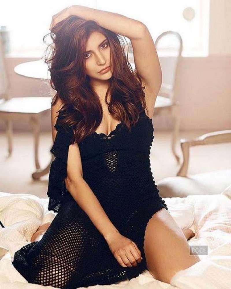 Anushka Sharma poses in sexy black dress during a photo shoot
