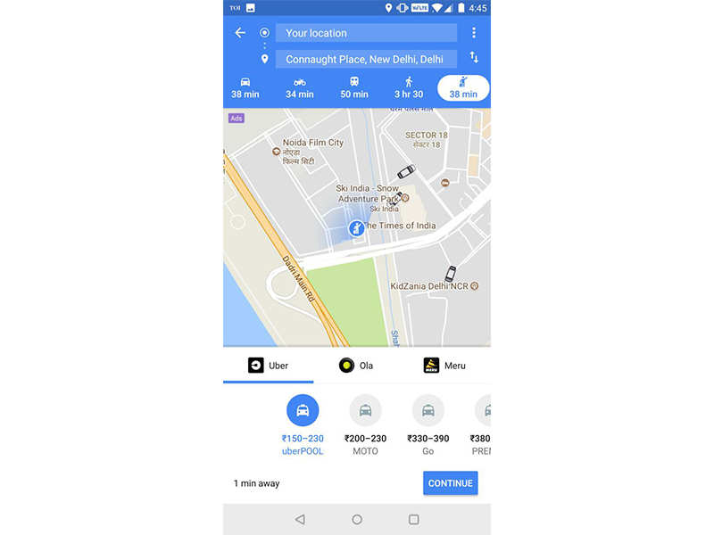 Book Uber from Google Maps