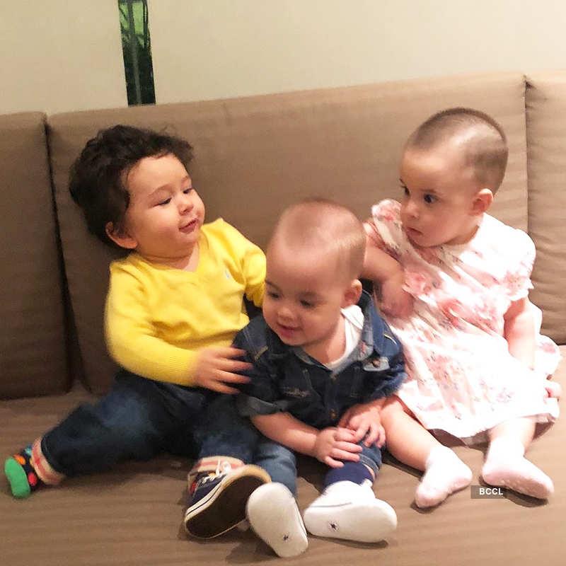 Taimur's day out with Karan Johar's twins on Adira's birthday