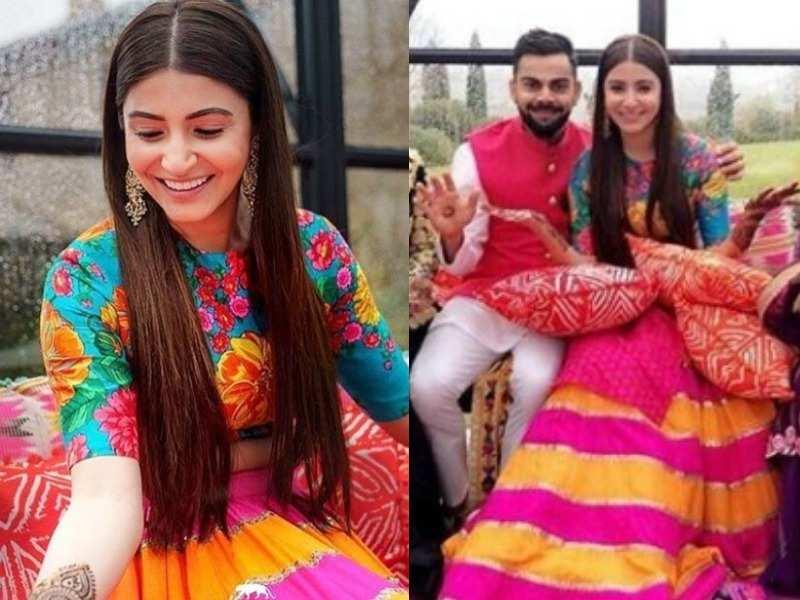 Anushka and Virat colourful mehendi picture