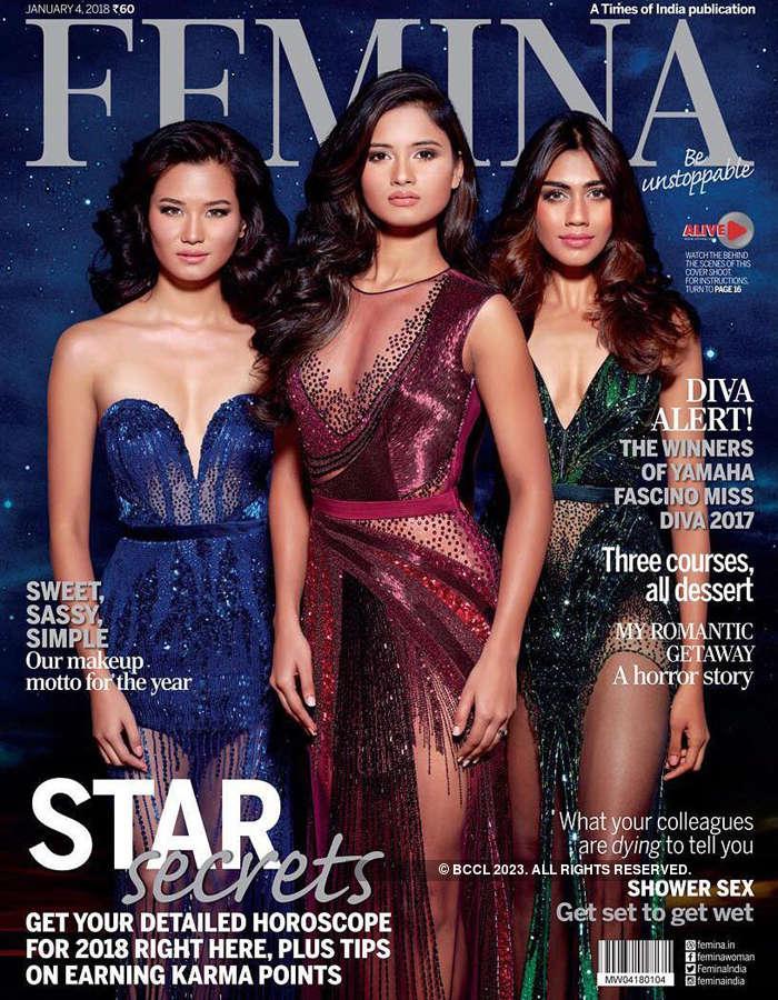 Yamaha Fascino Miss Diva 2017 winners on the cover of Femina
