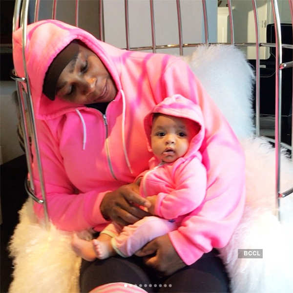 Serena Williams shares a candid moment with her little daughter