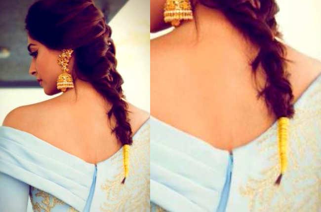 Sonam Kapoor golden braid thread