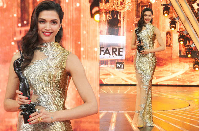 Deepika Padukone in Gold-Dress pics