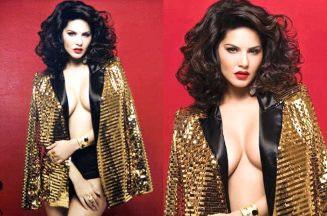Sunny Leone in Golden Sexy Dress