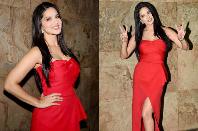Sunny leone Red Casual photos
