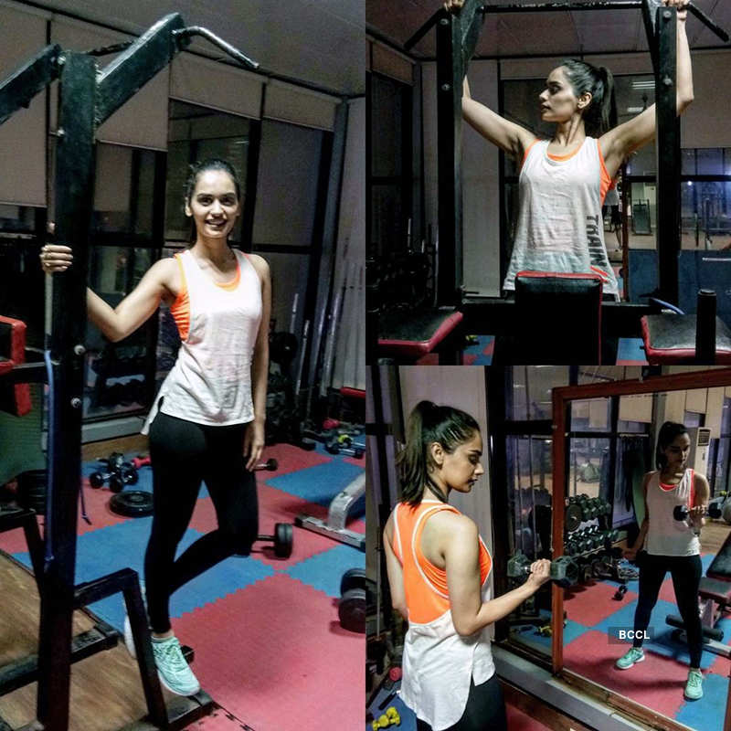 Manushi's workout pictures