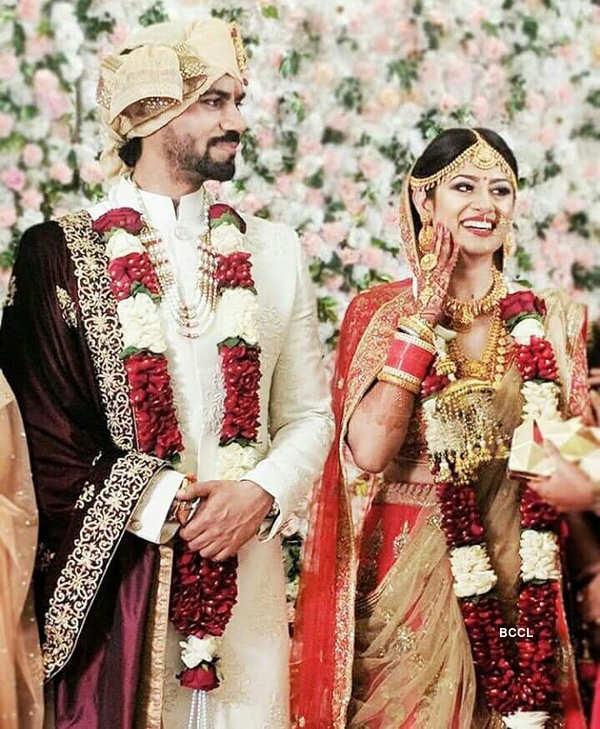 Newly-weds Gaurav Chopra and Hitisha's wedding reception