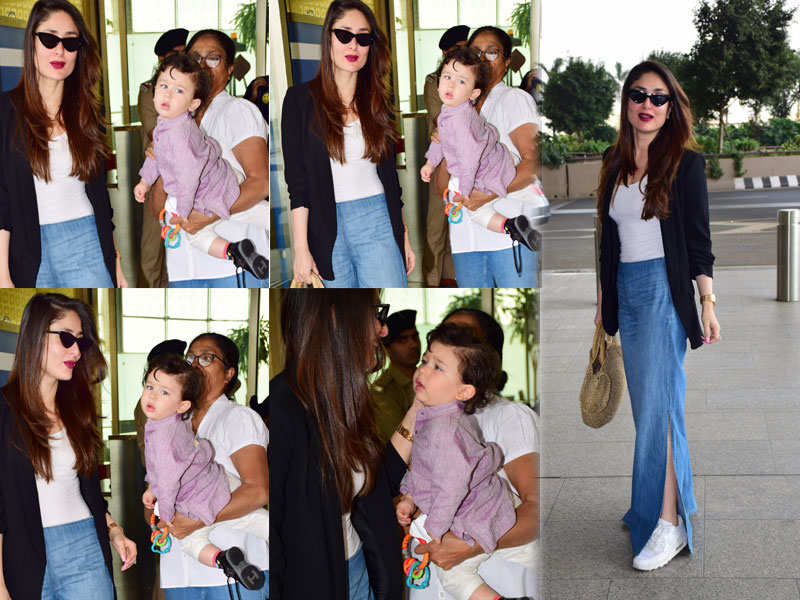 Pics: Kareena Kapoor Khan looks ravishing as she steps out with her adorable munchkin Taimur - Kareena Kapoor Khan-Saif Ali Khan's son Taimur's cutest clicks  | The Times of India