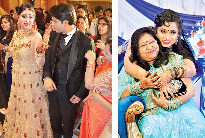 (L) Pallavi and Ankit dancing during their reception (R) Swati and Suman (BCCL/ IB Singh and Akash and Aman Films)